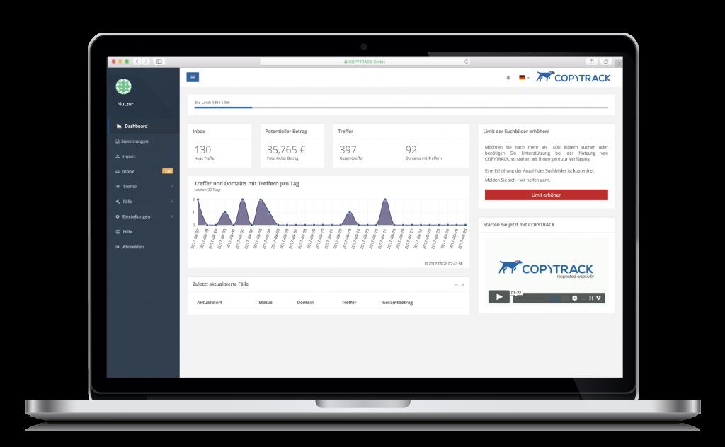 copytrack portal screenshot