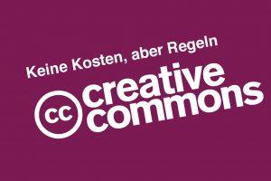 Creative Commons Logo lila Hintergrund