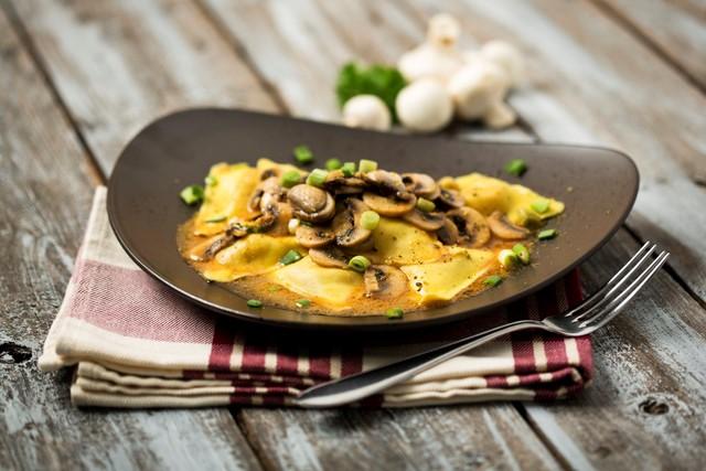 Food photography ravioli and mushrooms