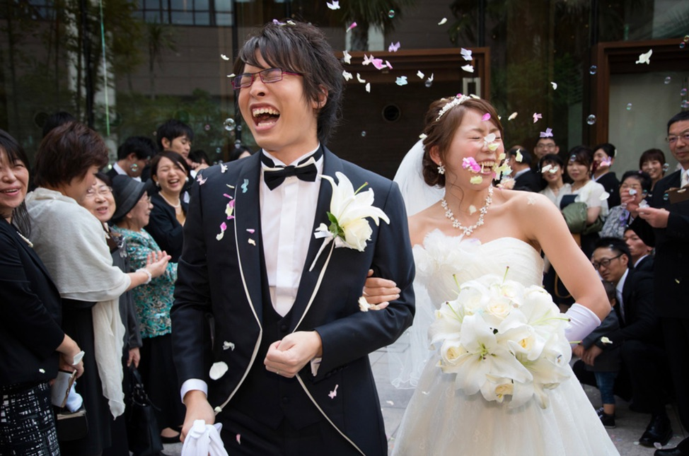 Wedding shot of a japanese couple