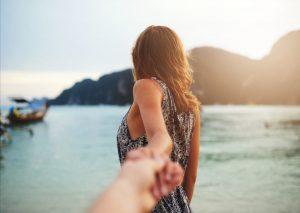 Girlfriend leading around the world