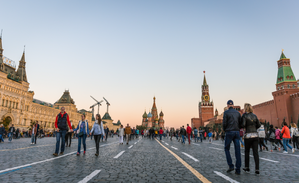 People on the streets of Red Square in Moscow