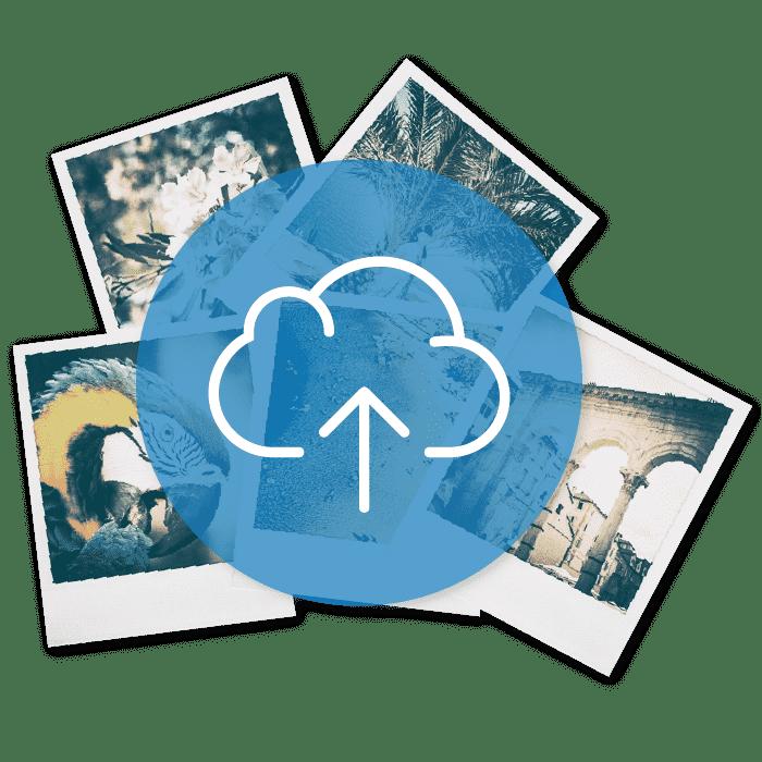 icon blue upload images