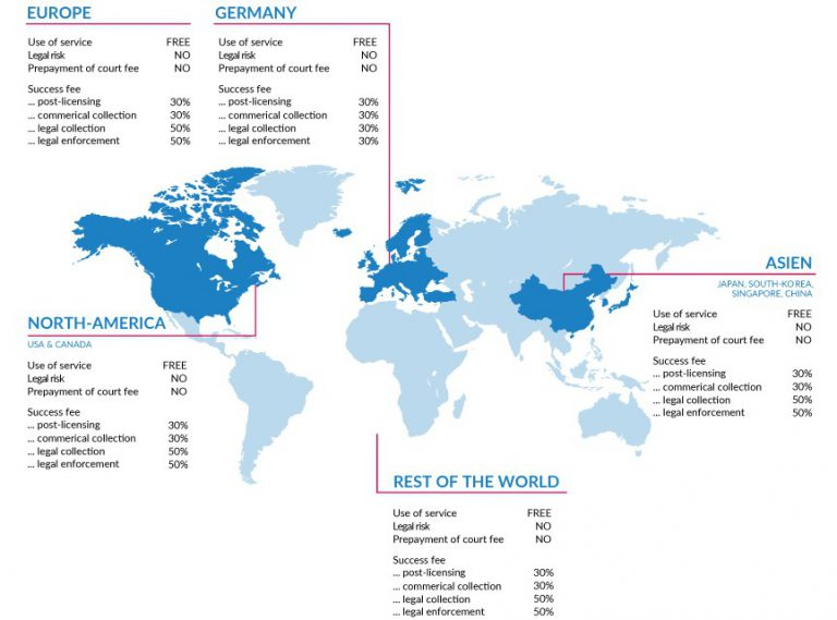 World map with the Copytrack pricing