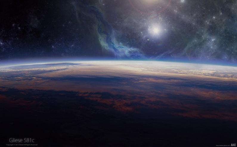 Illustration Sonne und Erde im Weltall