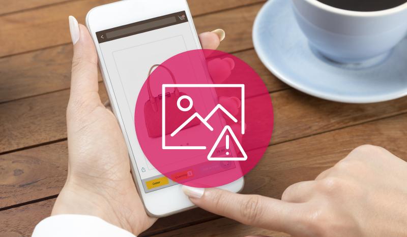 Produktbild auf Smartphone - Icon mit Achtung Bild