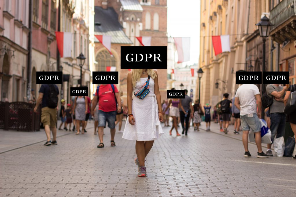 Gdpr Privacy Data Protection Law In European Union Countries Concept Picture Of People With Incognito Faces Behind Black Graphic Inscription Plate In Poland Medieval City Street Landmark Environment
