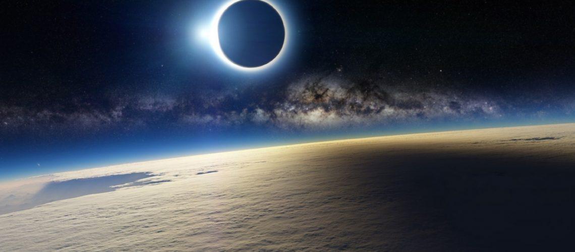 Illustration einer Sonnenfinsternis als Realbild