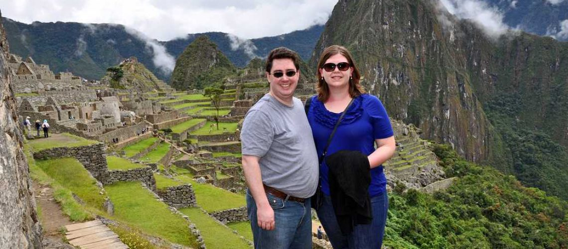 couple on top of Huayna Picchu
