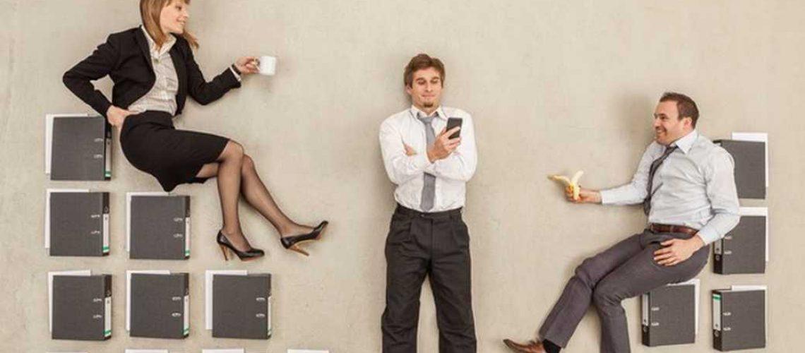 office people fake sitting on folders